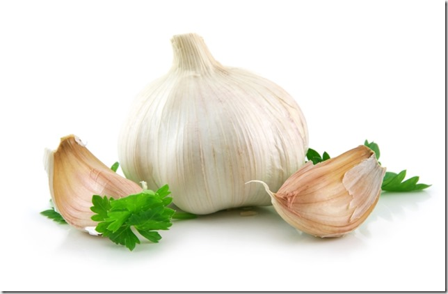Garlic Vegetable with Green Parsley Leaves Isolated on White