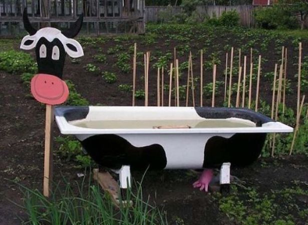 а. дачные идеи корова из старой ванны