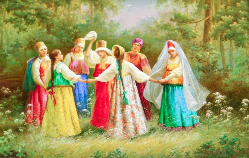 traditsii-i-narodnye-primety-troitsy-chto-mozhno-delat-i-nelzya-v-eto-den-i-na-sleduyushhij-posle-nego-kartina-horovod-devushek-v-lesu-na-troitsu